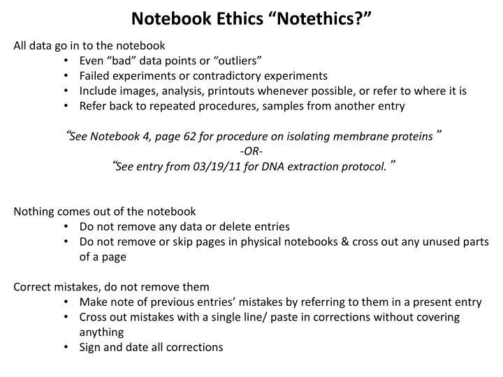 Notebook Ethics