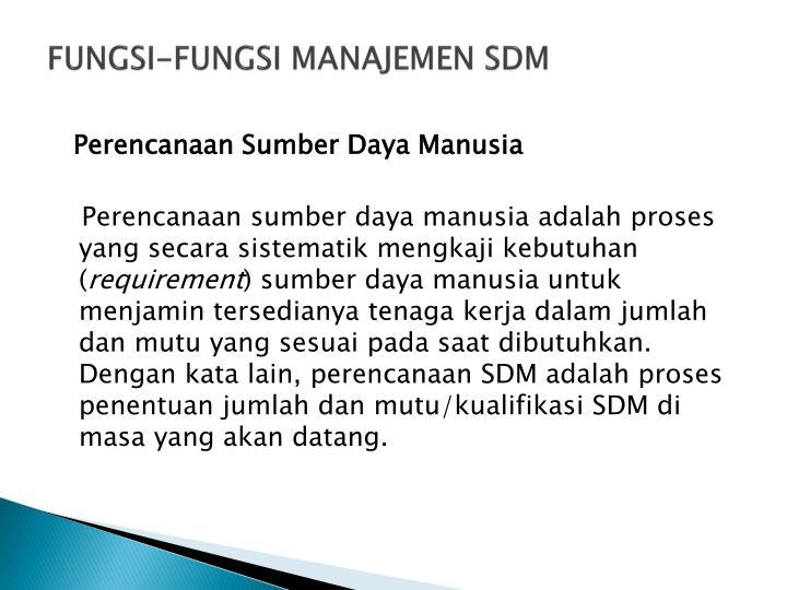 FUNGSI-FUNGSI MANAJEMEN SDM