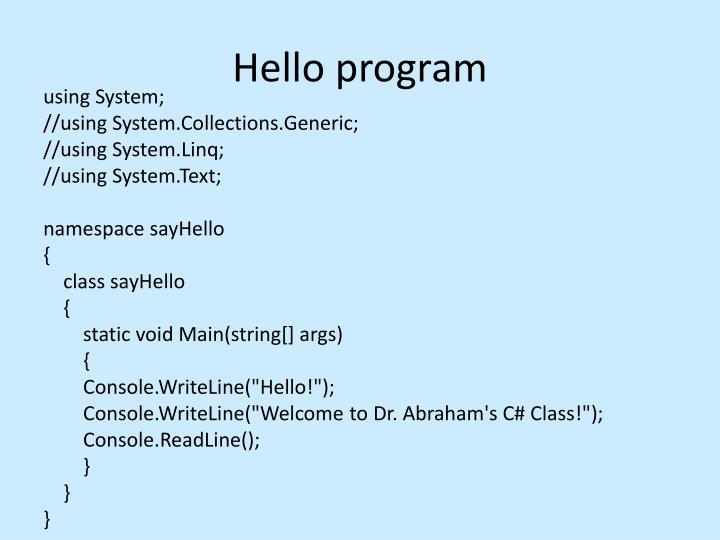 Hello program