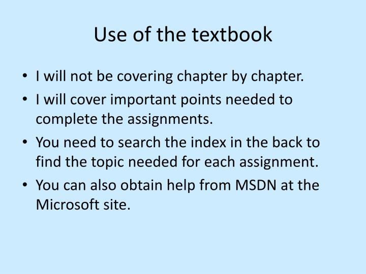 Use of the textbook