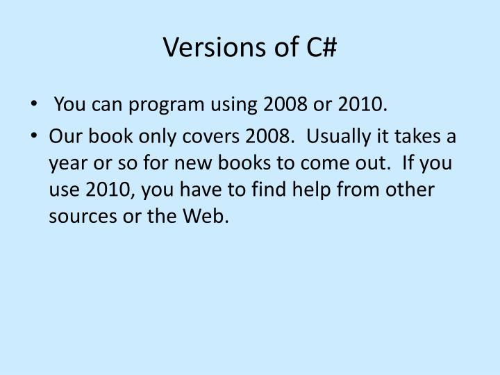 Versions of C#