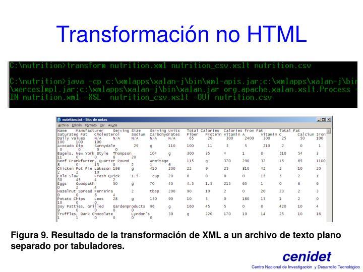 Transformación no HTML