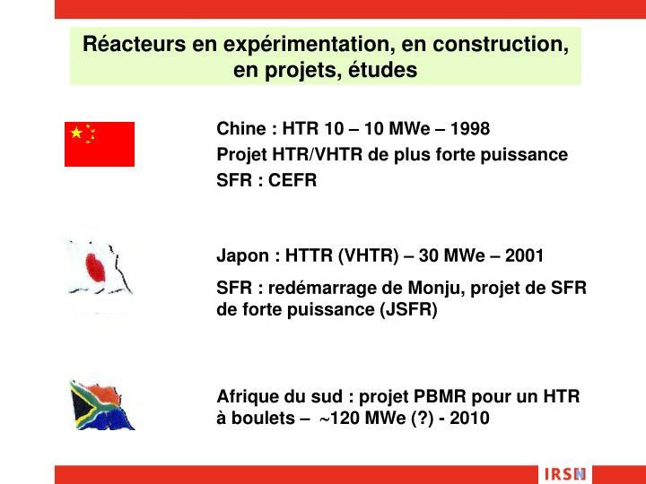 Réacteurs en expérimentation, en construction, en projets, études