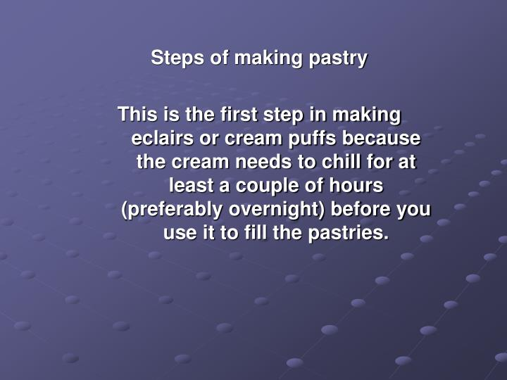 Steps of making pastry