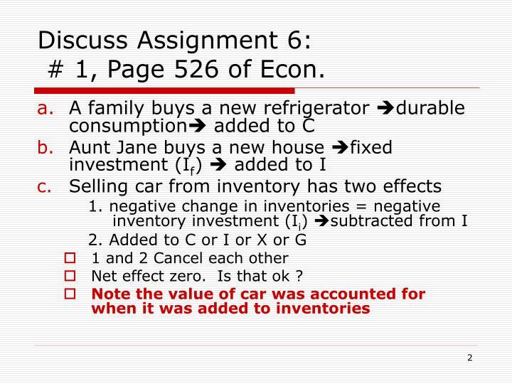 Discuss Assignment 6: