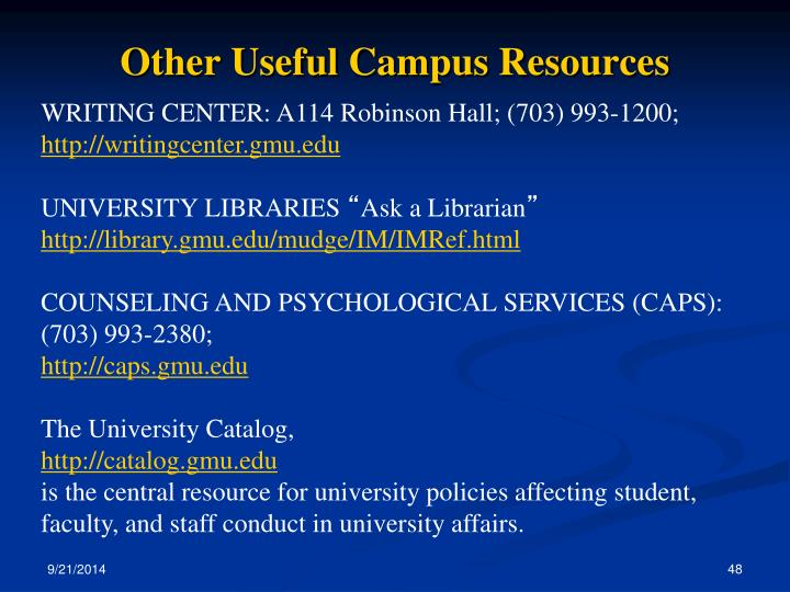 Other Useful Campus Resources