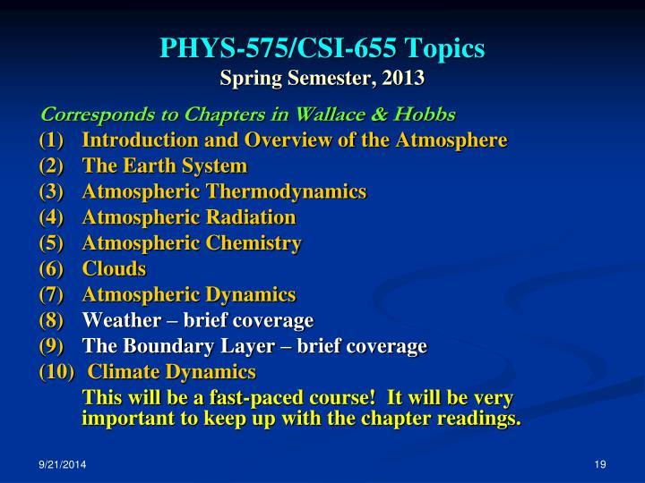 PHYS-575/CSI-655 Topics