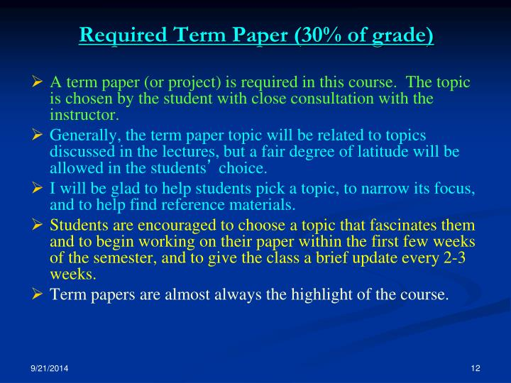 Required Term Paper (30% of grade)