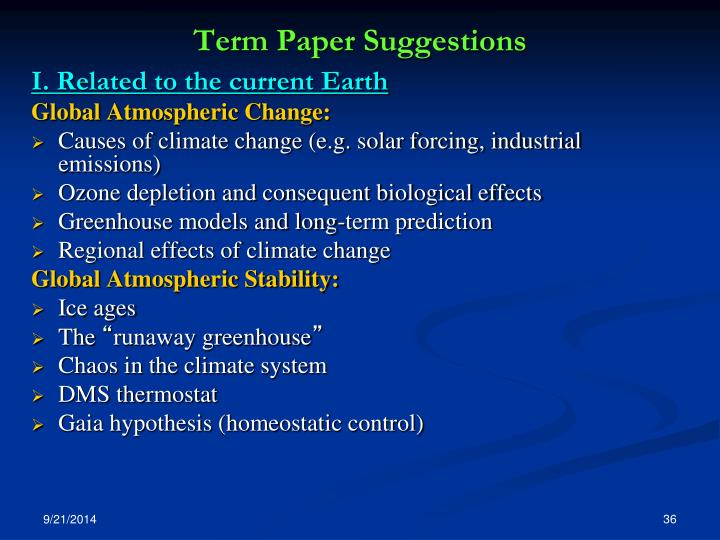 Term Paper Suggestions