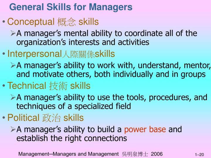 General Skills for Managers