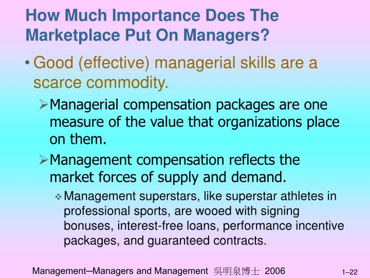 How Much Importance Does The Marketplace Put On Managers?