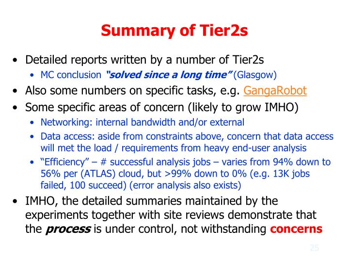 Summary of Tier2s