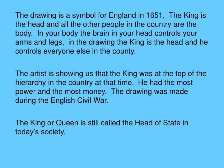 The drawing is a symbol for England in 1651.  The King is the head and all the other people in the country are the body.  In your body the brain in your head controls your arms and legs,  in the drawing the King is the head and he controls everyone else in the county.