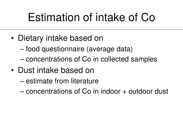 Estimation of intake of Co