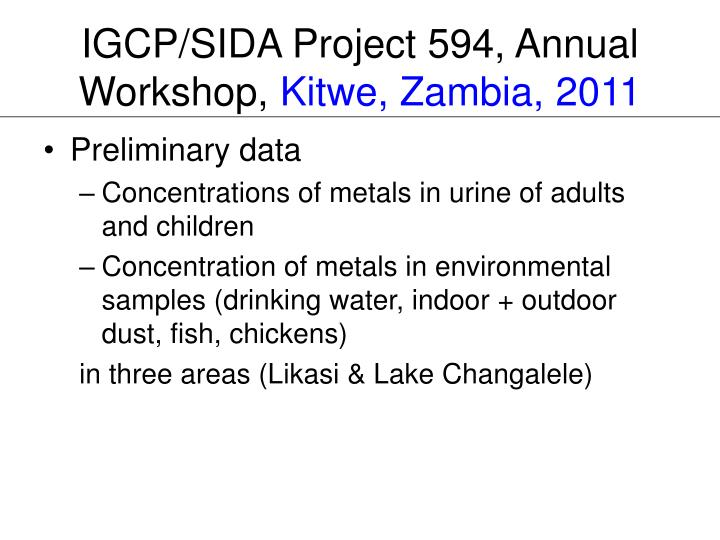 IGCP/SIDA Project 594, Annual Workshop,