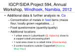 igcp sida project 594 annual workshop windhoek namibia 2012