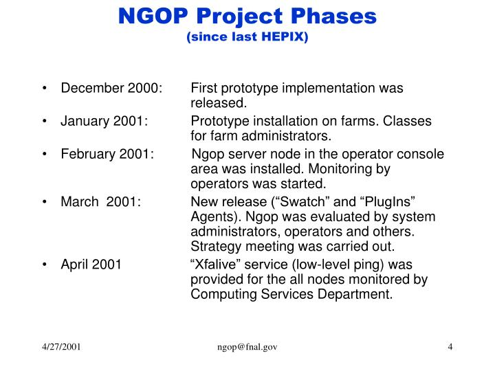 NGOP Project Phases