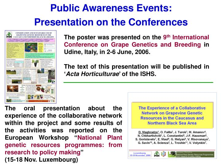 Public Awareness Events: