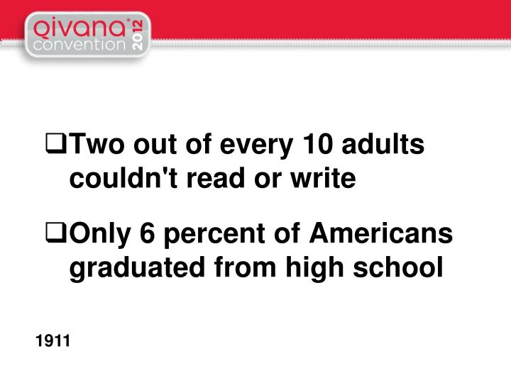 Two out of every 10 adults couldn't read or write