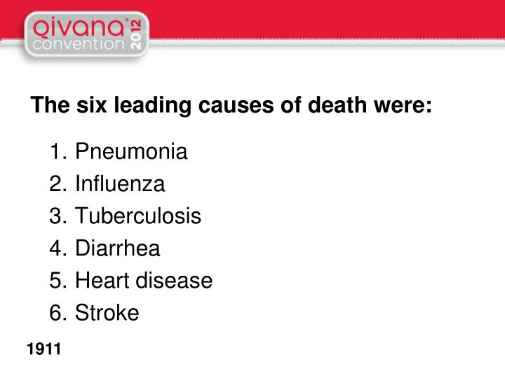 The six leading causes of death were: