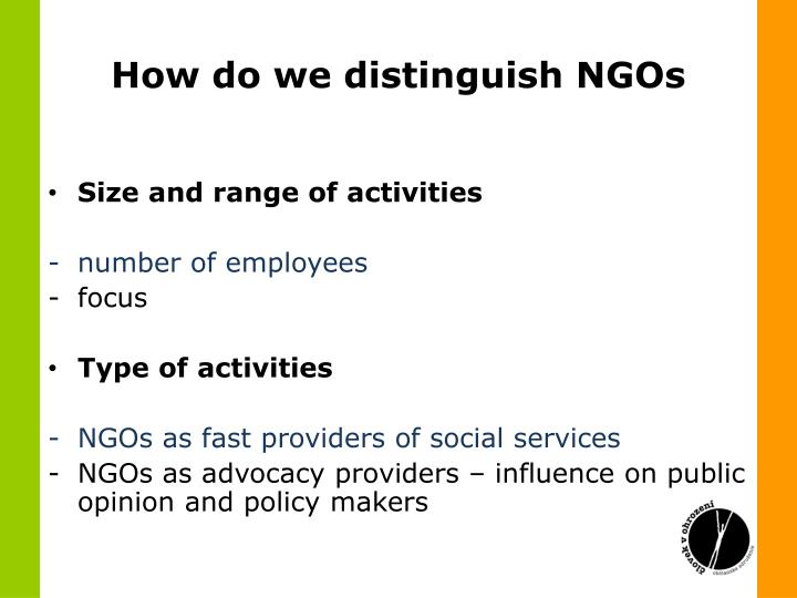 How do we distinguish NGOs