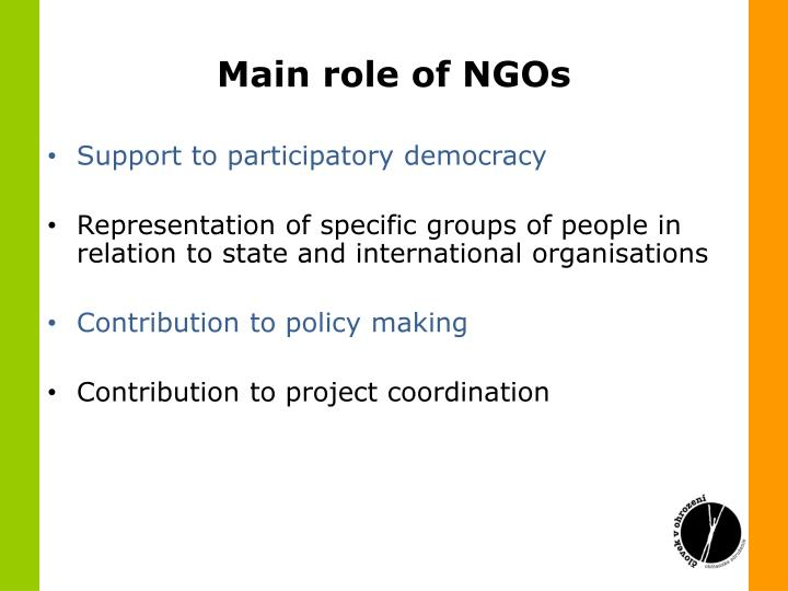 Main role of NGOs