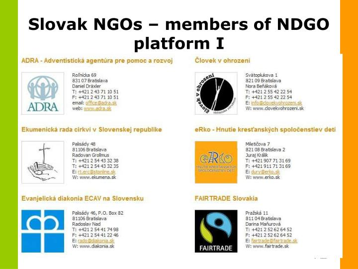 Slovak NGOs – members of NDGO platform I