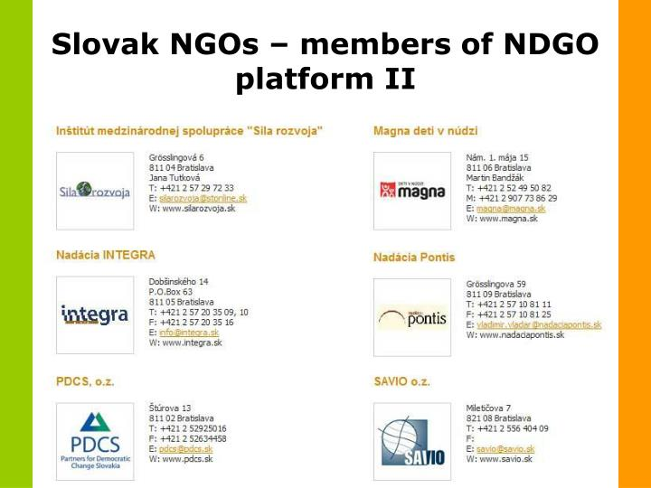 Slovak NGOs – members of NDGO platform II