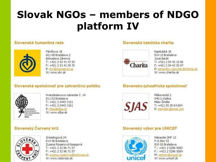 Slovak NGOs – members of NDGO platform IV