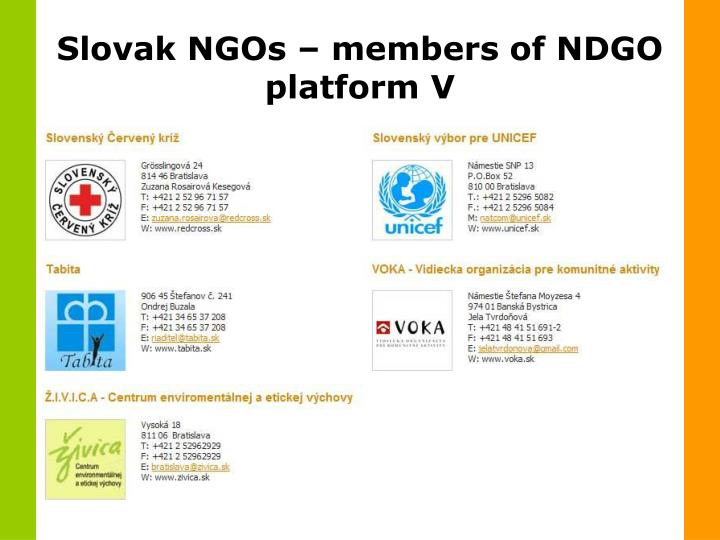 Slovak NGOs – members of NDGO platform V