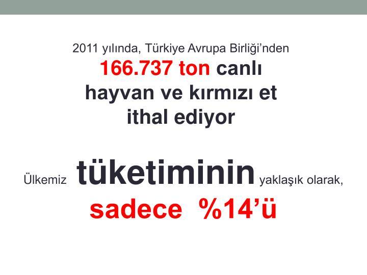 2011 yılında, Türkiye Avrupa Birliği'nden