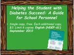 helping the student with diabetes succeed a guide for school personnel