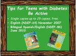 tips for teens with diabetes be active