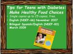 tips for teens with diabetes make healthy food choices