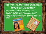 tips for teens with diabetes what is diabetes