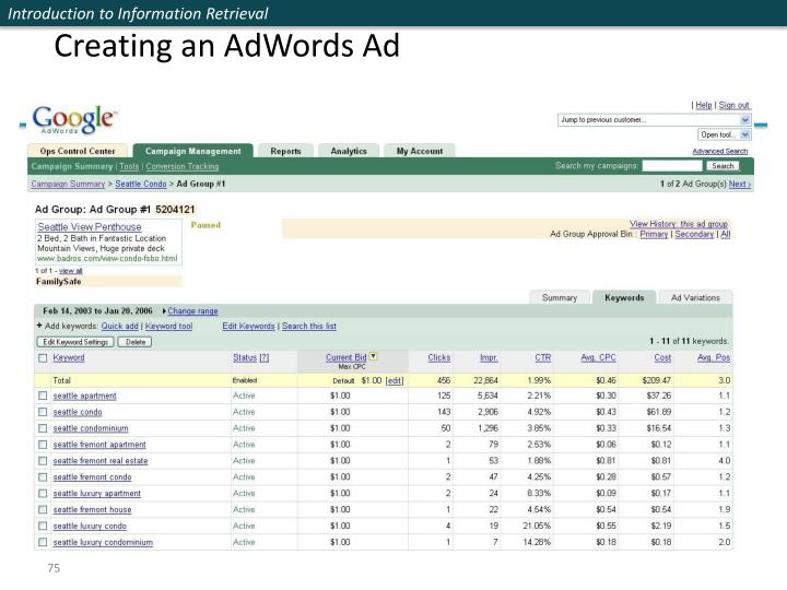 Creating an AdWords Ad