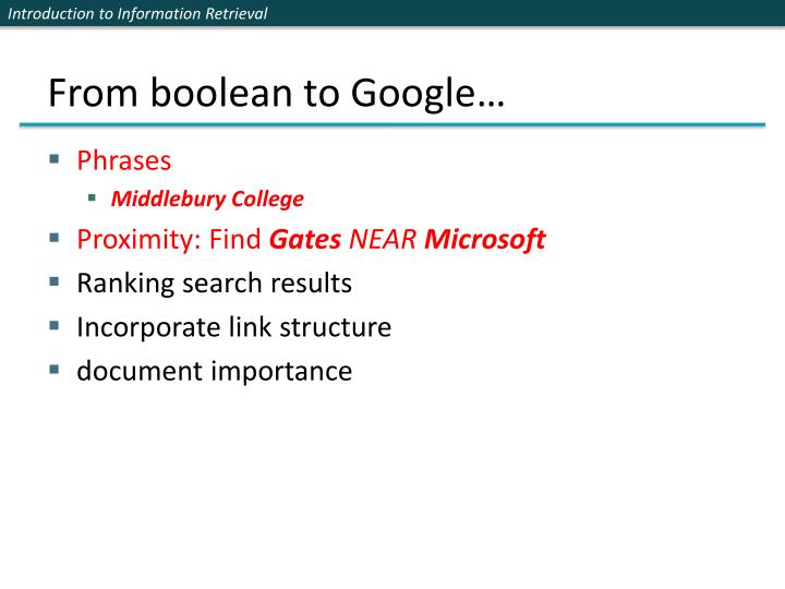 From boolean to Google…