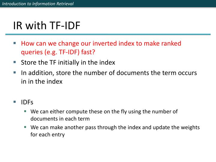 IR with TF-IDF