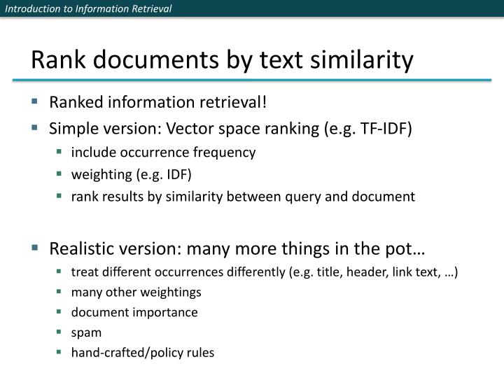 Rank documents by text similarity
