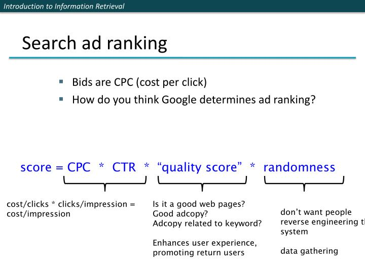 Search ad ranking