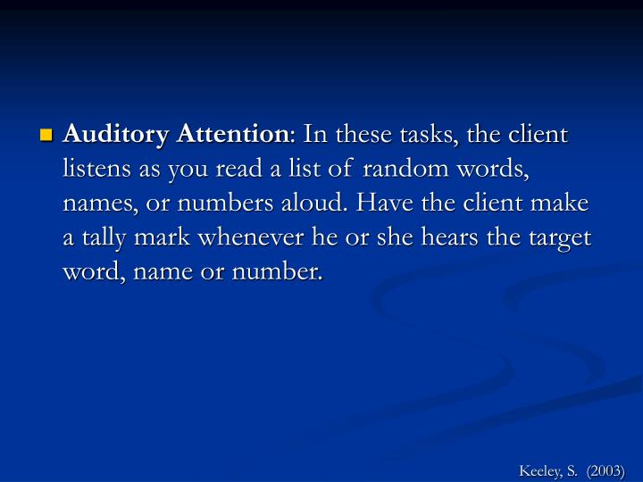 Auditory Attention