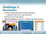 challenge 3 monetization