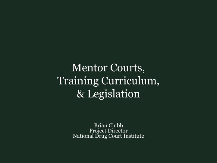 Mentor courts training curriculum legislation