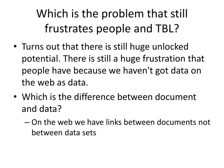 Which is the problem that still frustrates people and TBL?