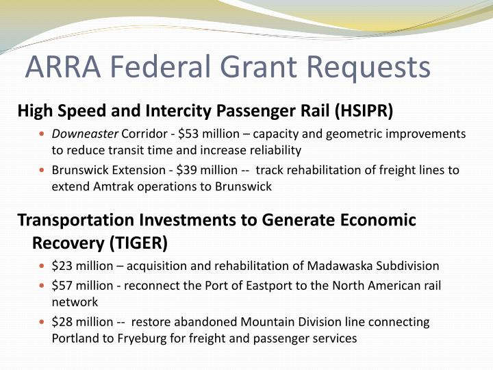 ARRA Federal Grant Requests