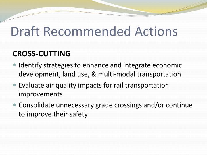 Draft Recommended Actions