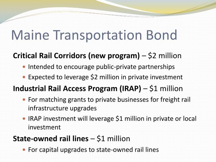Maine Transportation Bond