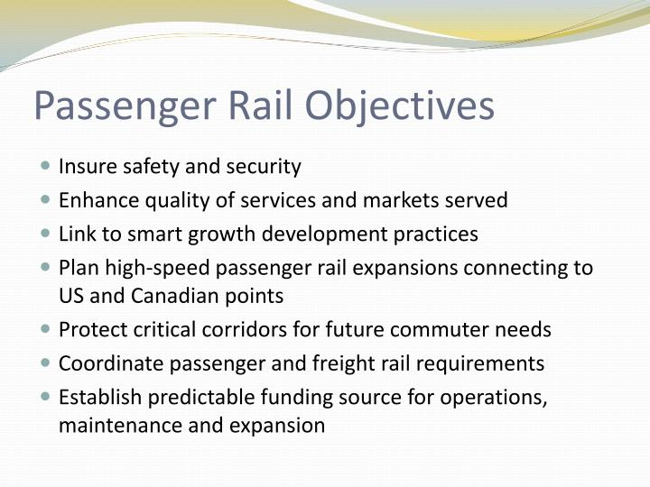 Passenger Rail Objectives