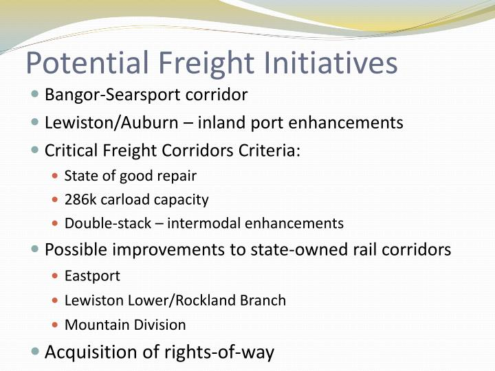Potential Freight Initiatives