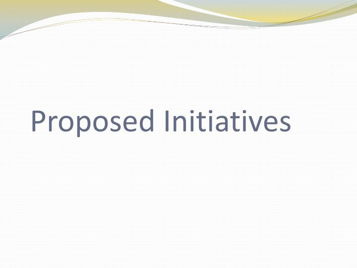 Proposed Initiatives